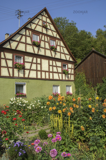 Garden in Braunsbach-Doettingen, Baden-Wuerttemberg, Germany