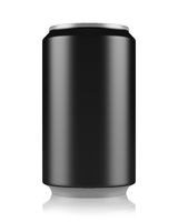 black beer can isolated on white background