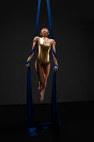 Sexy girl in gold lingerie on aerial silks