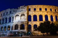 Ancient Roman Amphitheater in Pula at Night, Croatia