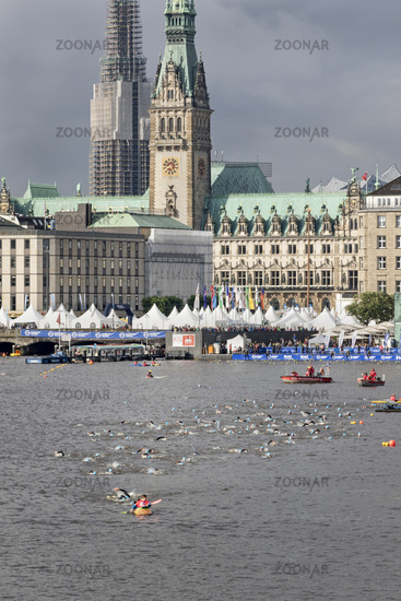 Triathlon, swimming, Alster, Hamburg 2016, Germany, Europe