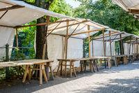flea market / empty market stall - outdoor market stands