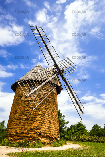 Historic wind mill near airport, Toulouse, France