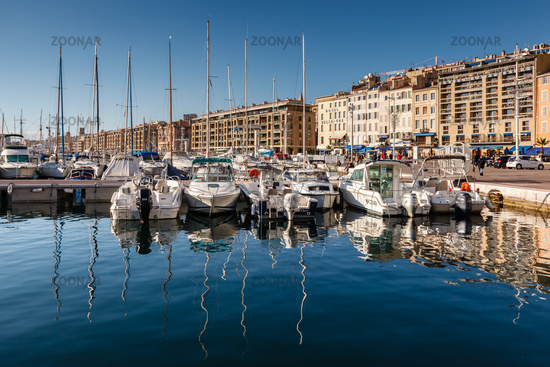 MARSEILLE, FRANCE - January 11: Boats on January 11, 2012 in the Old Port of Marseille, France. Mars