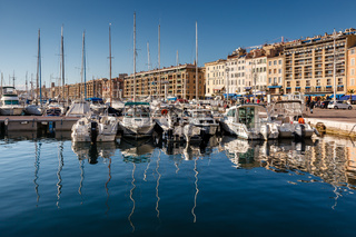 MARSEILLE, FRANCE - January 11: Boats on January 11, 2012 in the Old Port of Marseille, France. Marseille is the second largest city in France, after Paris, with a population of 853,000.