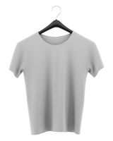 gray t-shirt on clothing hanger isolated on white background