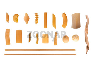 Traditional Italian pasta isolated over white