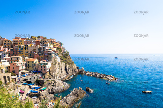 Manarola in Cinque Terre, Italy - July 2016 - The most eye-catching of Cinque Terre towns