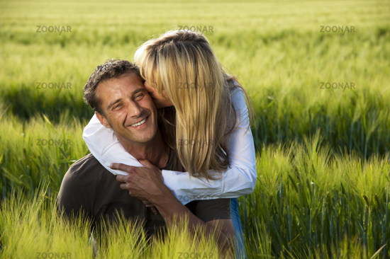 couple in love in a corn field
