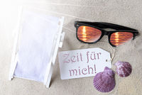 Flat Lay Label Zeit Fuer Mich Means Time For Me