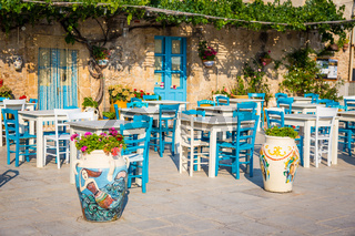 Tables in a traditional Italian Restaurant in Sicily