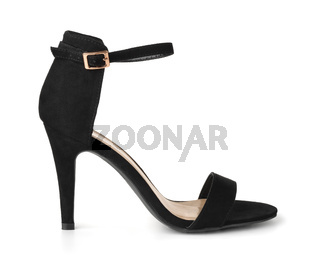 Black suede high heel shoe