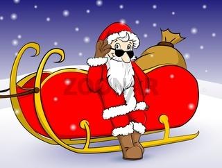 Weihnachtsmann an seinen Schlitten angelehnt