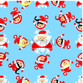 seamless pattern. New Year's Christmas holiday. Santa Claus,  and the elf in a circle watch  devushkasant up. an illustration  vector to use eps 10 for the press, design, the websites, registrations,  undershirt,  t-shirt,  print...