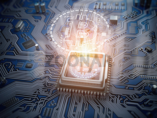 Bitcoin hologram over CPU core and computer circuit board or motherboard. Cryptocurrency mining concept.