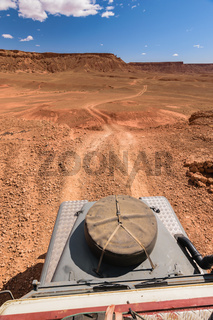 4x4 vehicle oldtimer driving off road, Morocco