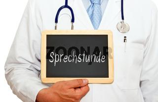 Arzt mit Sprechstunde Kreidetafel