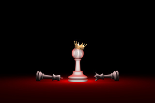 Paradox. Strength and weakness (chess metaphor). 3D render illustration. Free space for text.