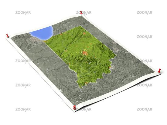 Indiana on unfolded map sheet.