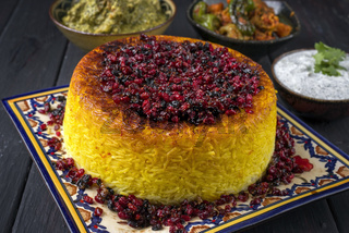 Traditional Rice Pie with Curry and Joghurt