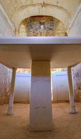 Marble altar on Central chapel of Visigothic Basilica of Santa Lucia del Trampal, Alcuescar, Spain