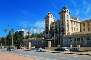 Mercosur Parliament building along the bank of Rio de la Plata i