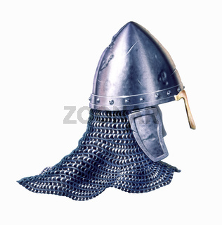 Middle age warrior helmet, on white background.