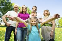 Portrait of cheerful extended family