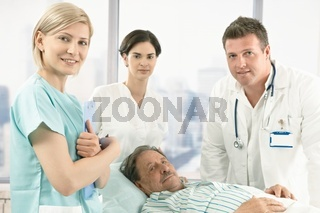 Old male patient in hospital