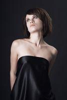 Fashionable woman black background