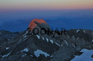 Peak of Mount Altmann at sunset. View from Mount Santis.