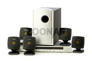 DVD player and speakers isolated on white