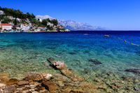 Beautiful Beach and Transparent Turquoise Adriatic Sea near Split, Croatia
