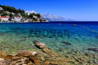 Beautiful Beach and Transparent Turquoise Adriatic Sea near Split, Croatia
