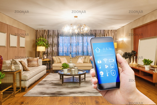 smart phone with smart home with modern living room