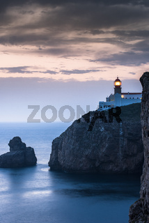 Lighthouse at Cabo de Sao Vicente, Algarve, Portugal.