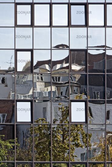 House facades with mirroring