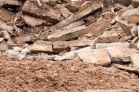 Pile of rubble at a demolition site