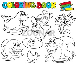 Coloring book with marine animals 1 - isolated illustration.