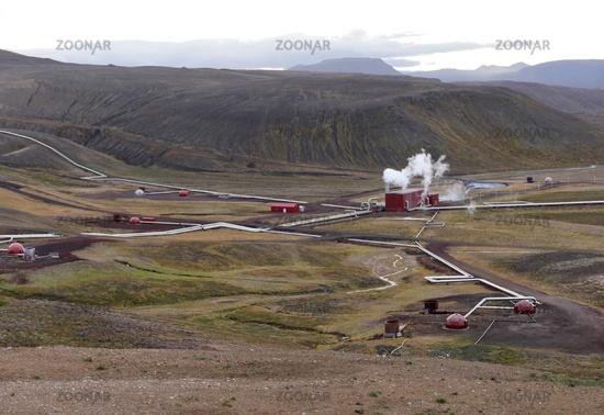 Kroefluvirkjun geothermal power plant at the Krafla volcano in Iceland