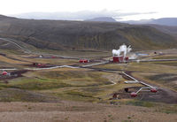 Kroefluvirkjun geothermal power plant at the Krafla volcano in Iceland