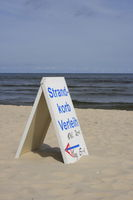 Rental sign for beach chairs at the beach of Usedom, Baltic Sea