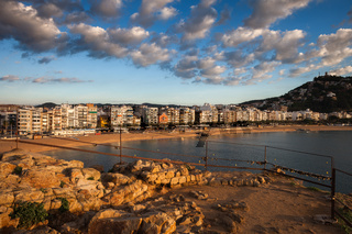 Sunrise at Sea Town of Blanes in Spain