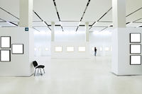 Many empty frames in museum