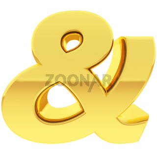 Gold ampersand sign with gradient reflections isolated on white. High resolution 3D image