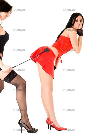 two hot girls playing