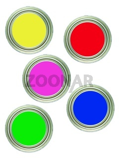 Tins of paint isolated against a white background