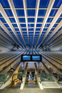 Bahnhof Liege Guillemins Lüttich Station Santiago Calatrava Hochformat Belgien