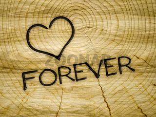 wooden heart love forever branding