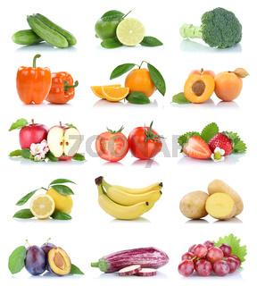 Früchte Obst und Gemüse Apfel Tomaten Orange Trauben Farben Sammlung Freisteller freigestellt isoliert